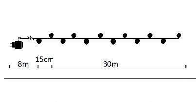 Vánoční LED řetez 171200  200xLED studená bílá 30m Exihand rozměry
