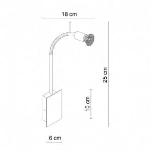 Nástěnná reflektorová lampička GROSETTO 5730-1W 50W GU10 GLOBO - rozměry.