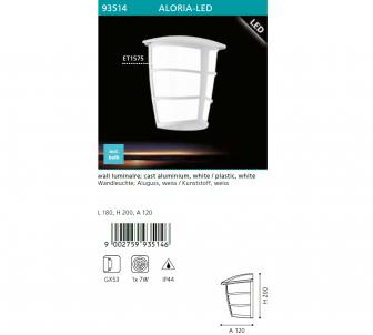 Venkovní nástěnné svítidlo ALORIA EGLO  93514 LED  GX53 1x7W