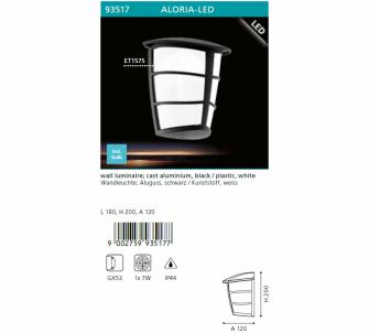 Venkovní nástěnné svítidlo ALORIA EGLO  93517 LED  GX53 1x7W