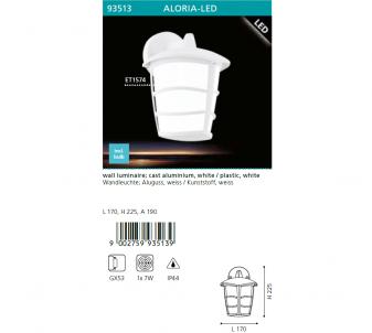Venkovní nástěnné svítidlo ALORIA EGLO  93513 LED  GX53 1x7W