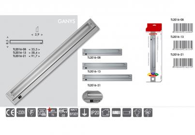 Přisazené výklopné svítidlo pod kuch.linku GANYS TL2016-21 stříbrné 21W T5 Ecoplanet - typy