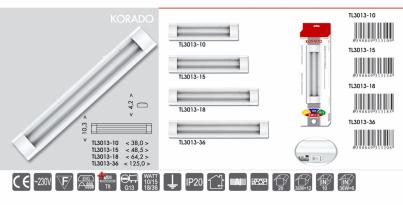 Přisazené svítidlo pod kuch.linku KORADO TL3013-10 bílé 10W T8 Ecoplanet - typy