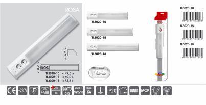 Přisazené svítidlo pod kuch.linku ROSA TL3020-15 bílé 15W T8 + 2xzásuvka Ecoplanet -typy