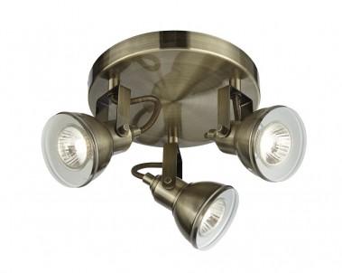 Stropní bodové svítidlo FOCUS 1543AB 3x50W GU10 staromosaz Searchlight