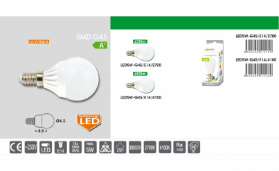 LED žárovka 5W E14  LED5W-G45/E14/2700 mini globe teple bílá Ecoplanet