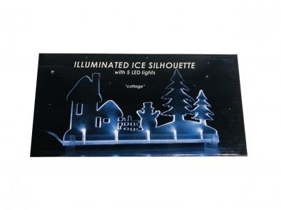 LED vánoční dekorace  FDL Illuminated Ice Silhouette Cottage 22182