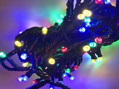 Napojovací LED světelný řetěz  FDL 100 Microleds barevná s trafem 37582