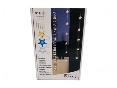 LED světelná záclona s motivy hvězdiček Nipeko Star Trading 2006-24 studená bílá