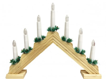 Vánoční svícen HS Candle Pyramid KAD01 přírodní