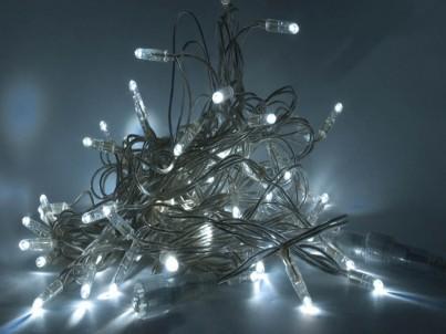 LED světelný řetěz decoLED SL28 8m, transparentní ledově bílá
