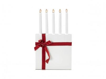 Vánoční svícen Markslöjd Molle 703327 červená mašle