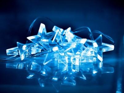 LED vánoční řetěz hvězdy Solight 1V52-B modré světlo č.1