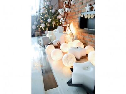 LED vánoční koule bavlněné Solight 1V48 20 LED bílá č.2