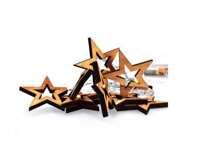 LED dřevěný vánoční řetěz hvězdy Solight 1V205 teplá bílá č.1