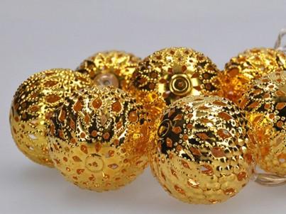 LED vánoční řetěz koule zlaté Solight 1V207-G teplá bílá č.2