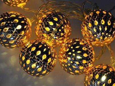 LED vánoční řetěz koule zlaté Solight 1V207-G teplá bílá č.4