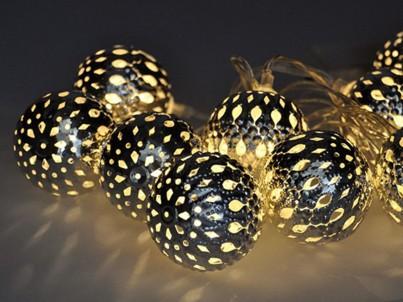 LED vánoční řetěz koule stříbrné Solight 1V207-S studená bílá č.2