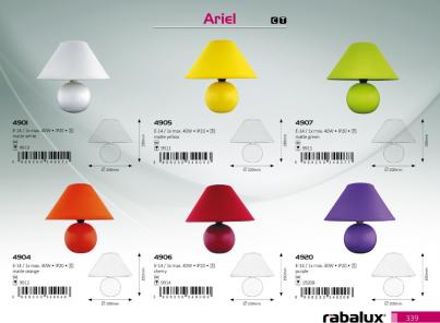 Stolní keramická lampa ARIEL 4905 40W E14 žlutá Rabalux - kolekce