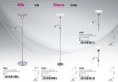 Stojací lampa DIANA 4067 1x60W/E27 + 1x40W/E14 matný chrom Rabalux č.2